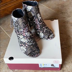 So open toed tapestry boots